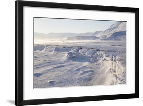 Adventdalen Valley, Frozen Sea Ice of Adventfjorden (Advent Bay), Svalbard-Stephen Studd-Framed Art Print