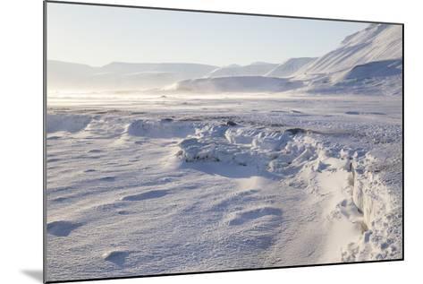 Adventdalen Valley, Frozen Sea Ice of Adventfjorden (Advent Bay), Svalbard-Stephen Studd-Mounted Photographic Print