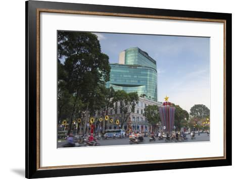 Traffic Passing Diamond Plaza, Ho Chi Minh City, Vietnam, Indochina, Southeast Asia, Asia-Ian Trower-Framed Art Print