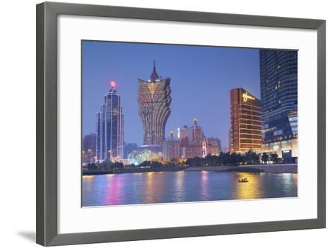 Grand Lisboa and Wynn Hotel and Casino at Dusk, Macau, China, Asia-Ian Trower-Framed Art Print