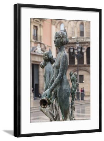 Maiden Statue, Central Fountain Representing Rio Turia, and Cathedral-Eleanor Scriven-Framed Art Print