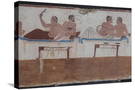 Painted Tomb of the Diver Detail, National Archaeological Museum, Paestum, Campania, Italy-Eleanor Scriven-Stretched Canvas Print
