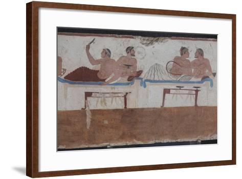 Painted Tomb of the Diver Detail, National Archaeological Museum, Paestum, Campania, Italy-Eleanor Scriven-Framed Art Print