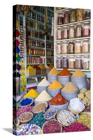 Herbs and Spices for Sale in Souk, Medina, Marrakesh, Morocco, North Africa, Africa-Stephen Studd-Stretched Canvas Print