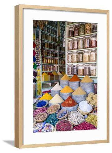 Herbs and Spices for Sale in Souk, Medina, Marrakesh, Morocco, North Africa, Africa-Stephen Studd-Framed Art Print