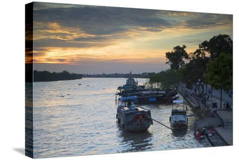 Boats on Ben Tre River at Sunset, Ben Tre, Mekong Delta, Vietnam, Indochina, Southeast Asia, Asia-Ian Trower-Stretched Canvas Print