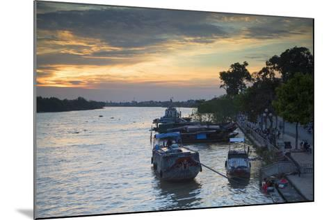 Boats on Ben Tre River at Sunset, Ben Tre, Mekong Delta, Vietnam, Indochina, Southeast Asia, Asia-Ian Trower-Mounted Photographic Print