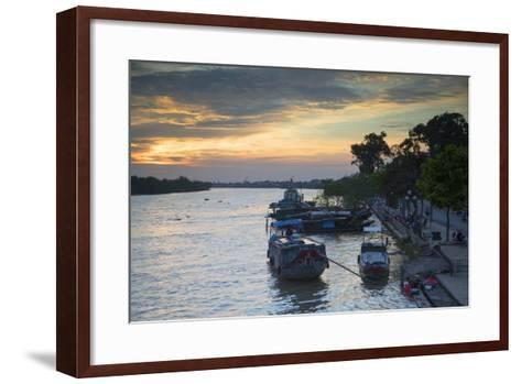 Boats on Ben Tre River at Sunset, Ben Tre, Mekong Delta, Vietnam, Indochina, Southeast Asia, Asia-Ian Trower-Framed Art Print