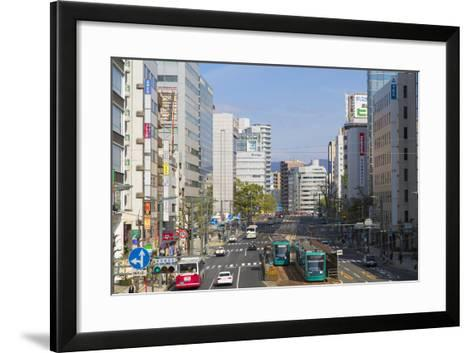Trams and Traffic, Hiroshima, Hiroshima Prefecture, Japan-Ian Trower-Framed Art Print