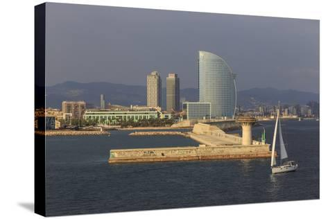 Yacht Sails Past La Barceloneta and the Waterfront-Eleanor Scriven-Stretched Canvas Print