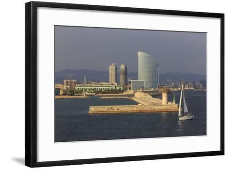 Yacht Sails Past La Barceloneta and the Waterfront-Eleanor Scriven-Framed Art Print