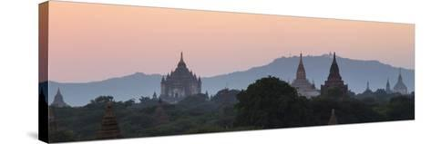 View Towards Old Bagan, with Ananda Temple Pagoda and Thatbyinnyu Temple at Sunset, Bagan (Pagan)-Stephen Studd-Stretched Canvas Print
