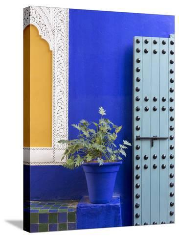 Blue Paintwork, Jardin Majorelle, Owned by Yves St. Laurent, Marrakech, Morocco-Stephen Studd-Stretched Canvas Print