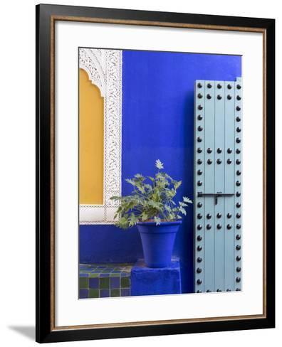 Blue Paintwork, Jardin Majorelle, Owned by Yves St. Laurent, Marrakech, Morocco-Stephen Studd-Framed Art Print