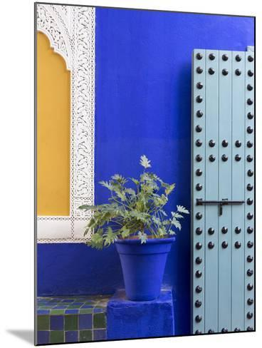 Blue Paintwork, Jardin Majorelle, Owned by Yves St. Laurent, Marrakech, Morocco-Stephen Studd-Mounted Photographic Print