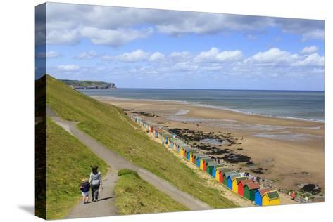 Elevated View of Colourful Beach Huts on West Cliff Beach-Eleanor Scriven-Stretched Canvas Print