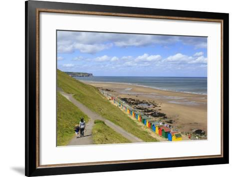 Elevated View of Colourful Beach Huts on West Cliff Beach-Eleanor Scriven-Framed Art Print