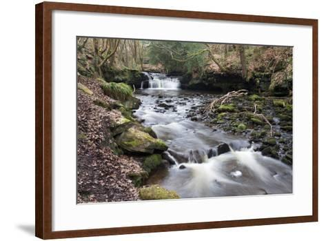 Waterfall on Harden Beck in Goitstock Wood, Cullingworth, Yorkshire, England, UK-Mark Sunderland-Framed Art Print