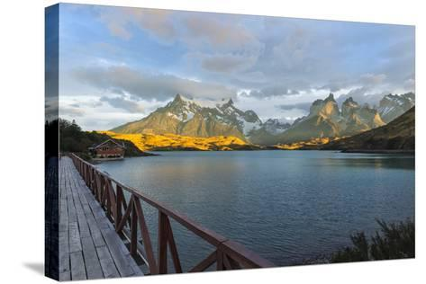 Sunrise over Cuernos Del Paine and Lago Pehoe-G & M Therin-Weise-Stretched Canvas Print