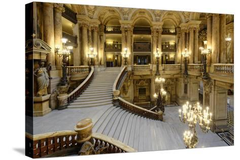 Opera Garnier, Grand Staircase, Paris, France-G & M Therin-Weise-Stretched Canvas Print
