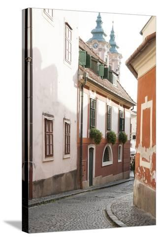 Cobblestone Street and Narrow Buildings with Church Towers in Background, Eger, Hungary-Kimberly Walker-Stretched Canvas Print