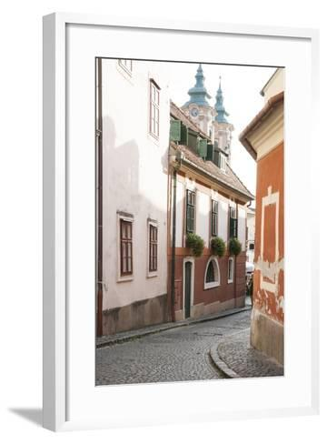 Cobblestone Street and Narrow Buildings with Church Towers in Background, Eger, Hungary-Kimberly Walker-Framed Art Print
