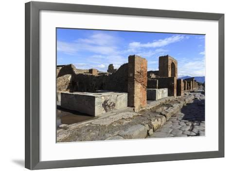 Cobbled Street with Thermopolium Counters and Arch, Roman Ruins of Pompeii, Campania, Italy-Eleanor Scriven-Framed Art Print