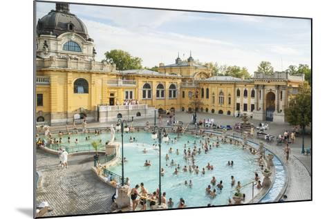 People Soaking and Swimming in the Famous Szechenhu Thermal Bath, Budapest, Hungary-Kimberly Walker-Mounted Photographic Print