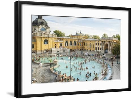 People Soaking and Swimming in the Famous Szechenhu Thermal Bath, Budapest, Hungary-Kimberly Walker-Framed Art Print