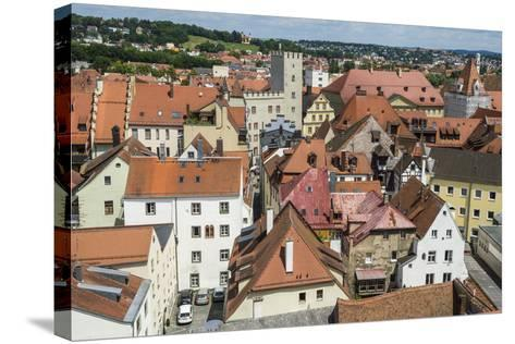 View over Regensburg from the Tower of the Church of the Holy Trinity, Regensburg, Bavaria, Germany-Michael Runkel-Stretched Canvas Print
