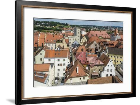 View over Regensburg from the Tower of the Church of the Holy Trinity, Regensburg, Bavaria, Germany-Michael Runkel-Framed Art Print