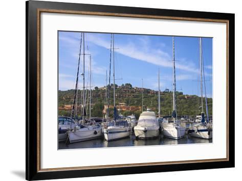 Marina and Perched Village, Ottiolu Harbour, Costa Degli Oleandri, Sardinia, Italy, Mediterranean-Guy Thouvenin-Framed Art Print