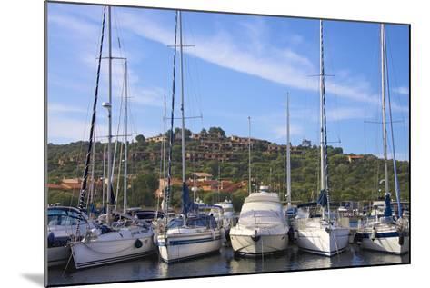 Marina and Perched Village, Ottiolu Harbour, Costa Degli Oleandri, Sardinia, Italy, Mediterranean-Guy Thouvenin-Mounted Photographic Print