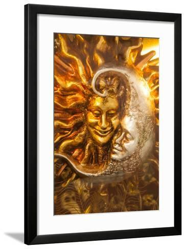 Moon and Sun Carnival Mask Decorations, Venice, Veneto, Italy, Europe-Guy Thouvenin-Framed Art Print