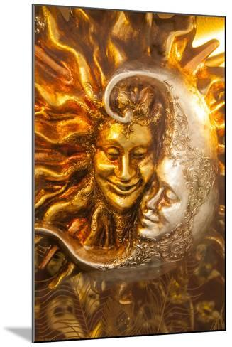 Moon and Sun Carnival Mask Decorations, Venice, Veneto, Italy, Europe-Guy Thouvenin-Mounted Photographic Print
