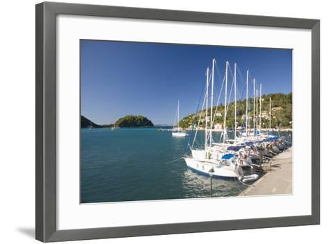 View across Lakka Bay, Yachts Lined Up Along the Quay, Lakka-Ruth Tomlinson-Framed Art Print