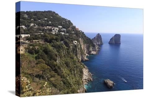 View to Limestone Pinnacles of Faraglioni Rocks from Giardini Di Augusto-Eleanor Scriven-Stretched Canvas Print