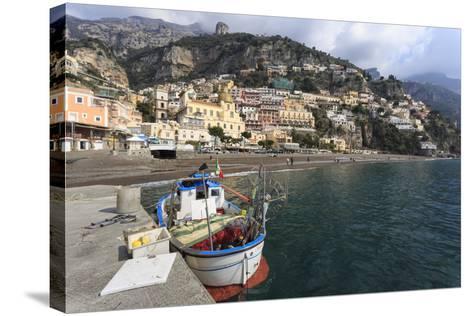 Fishing Boat at Quayside and Positano Town, Costiera Amalfitana (Amalfi Coast), Campania, Italy-Eleanor Scriven-Stretched Canvas Print