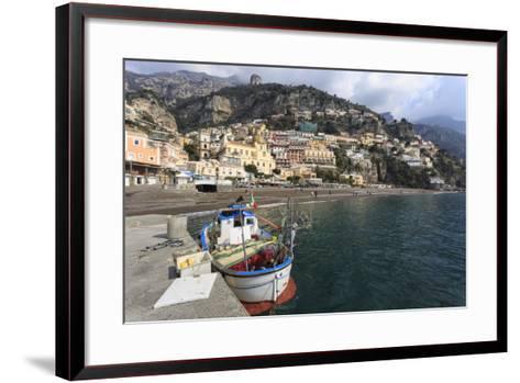 Fishing Boat at Quayside and Positano Town, Costiera Amalfitana (Amalfi Coast), Campania, Italy-Eleanor Scriven-Framed Art Print