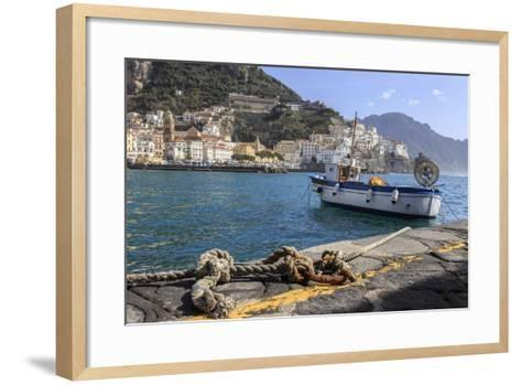 Tethered Fishing Boat with Rope-Eleanor Scriven-Framed Art Print