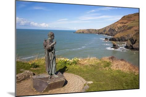 Statue of St. Carannog, Llangrannog Beach, Ceredigion (Cardigan), West Wales, Wales, UK-Billy Stock-Mounted Photographic Print
