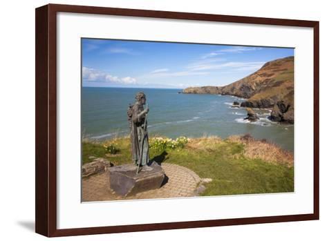 Statue of St. Carannog, Llangrannog Beach, Ceredigion (Cardigan), West Wales, Wales, UK-Billy Stock-Framed Art Print