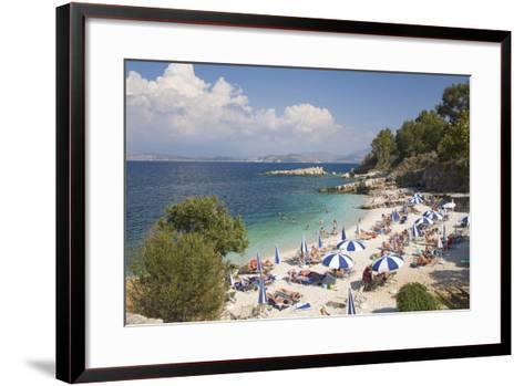 Beach Crowded with Holidaymakers, Kassiopi, Corfu, Ionian Islands, Greek Islands, Greece, Europe-Ruth Tomlinson-Framed Art Print