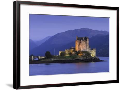 Eilean Donan Castle Floodlit at Night on Loch Duich, Scotland, United Kingdom-John Woodworth-Framed Art Print