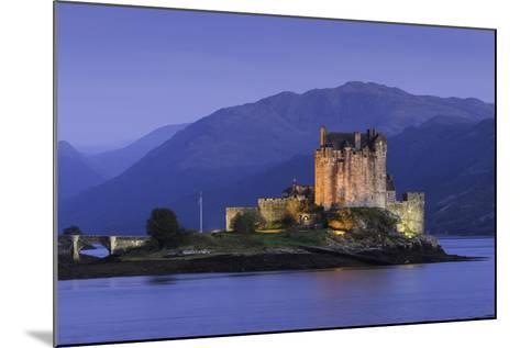Eilean Donan Castle Floodlit at Night on Loch Duich, Scotland, United Kingdom-John Woodworth-Mounted Photographic Print