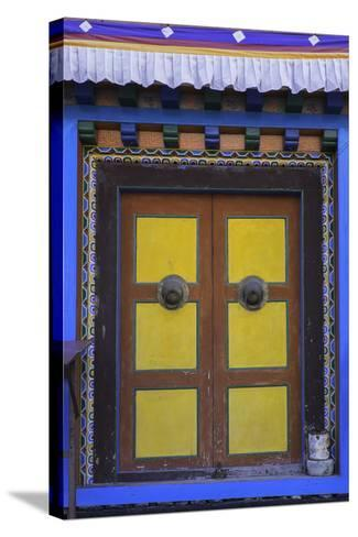Door at the Buddhist Monastery in Tengboche in the Khumbu Region of Nepal, Asia-John Woodworth-Stretched Canvas Print