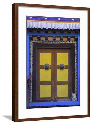 Door at the Buddhist Monastery in Tengboche in the Khumbu Region of Nepal, Asia-John Woodworth-Framed Art Print