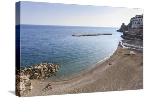 Elevated View of Atrani Beach with Family and Fishing Boats-Eleanor Scriven-Stretched Canvas Print