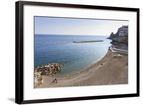 Elevated View of Atrani Beach with Family and Fishing Boats-Eleanor Scriven-Framed Art Print