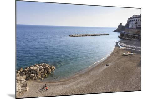 Elevated View of Atrani Beach with Family and Fishing Boats-Eleanor Scriven-Mounted Photographic Print